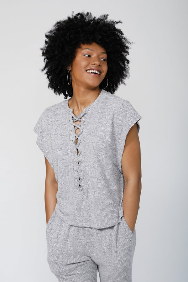 C&C Lace-Up Top - Heather Grey
