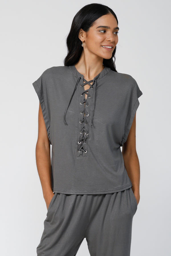 C&C Lace-Up Top - Dark Grey
