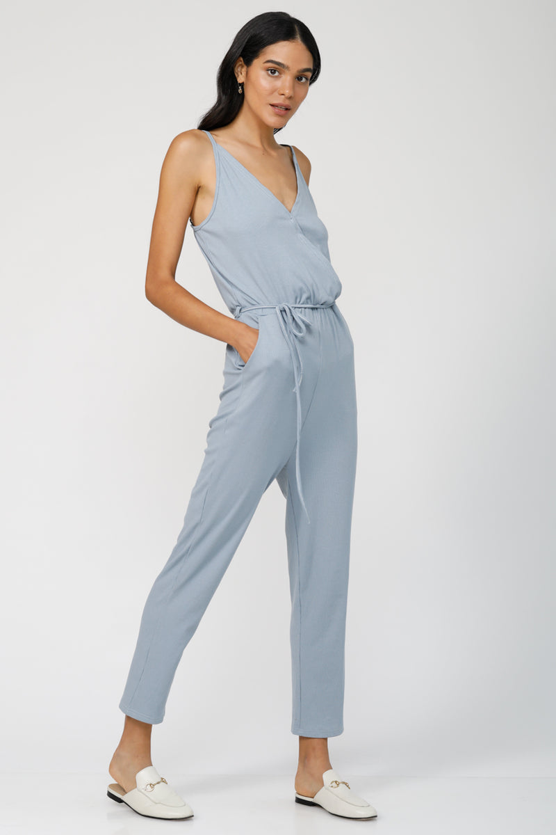 Bounce Back Jumpsuit  - Light Blue