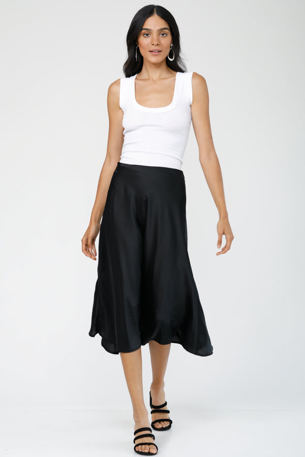 Flirty Girlfriend Satin Midi Skirt