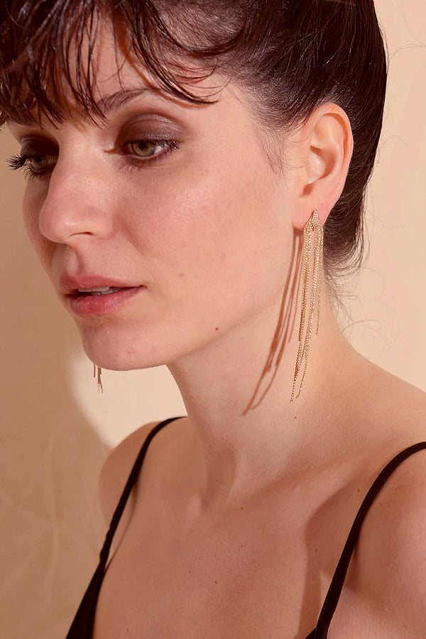 STRINGS GOLDEN EARRINGS -Silk & Salt