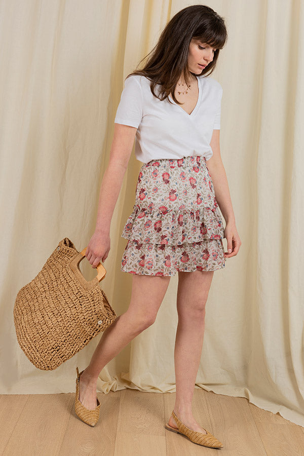 Summer Lovin' Ruffle Skirt - Floral white -Silk & Salt