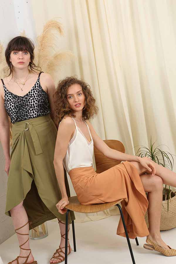 Safari Sisters Wrap Skirt - Green -Silk & Salt