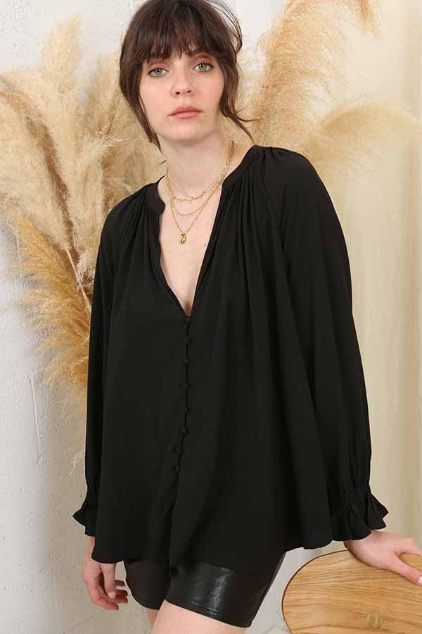 Romancing the Night Away Peasant Top -Silk & Salt