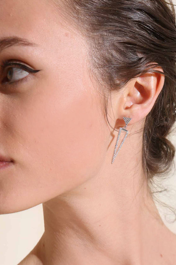 TRIANGULAR SILVER EARRINGS -Silk & Salt