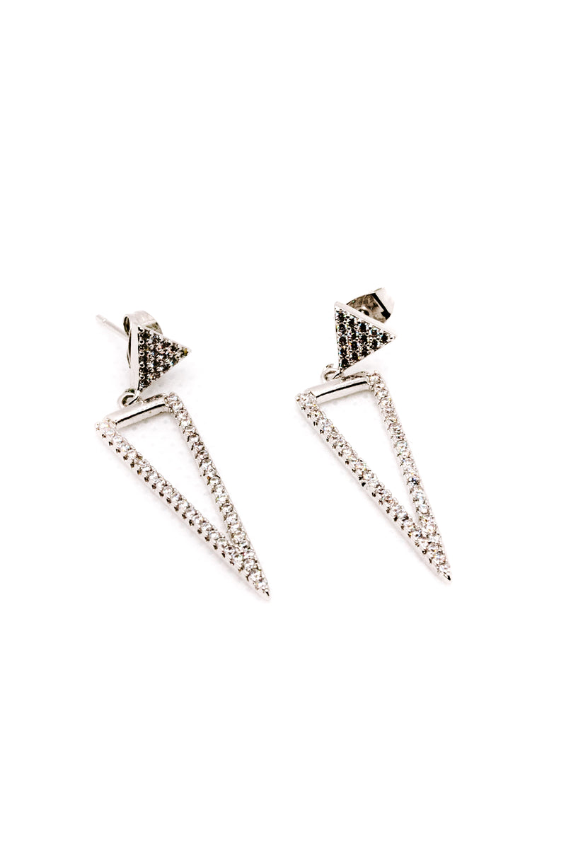 TRIANGULAR SILVER EARRINGS