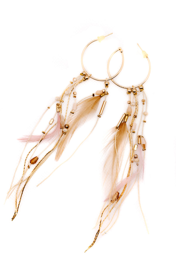 PINK FEATHER BOHO EARRINGS