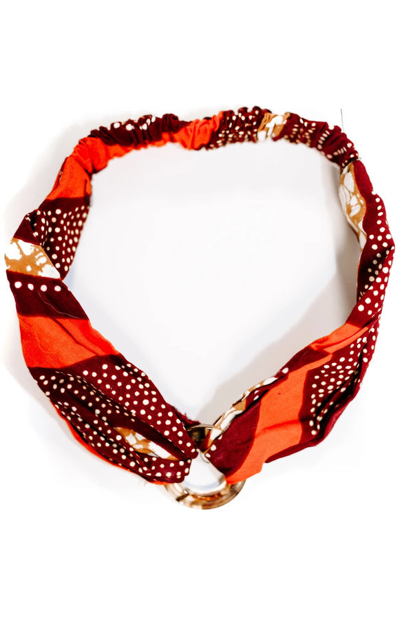 Red African Print Soft Headband