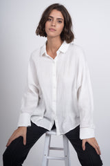 So Free Button Down Blouse - White