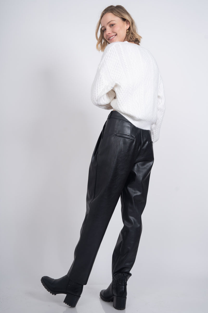 Vandal Faux Leather Pants - Black