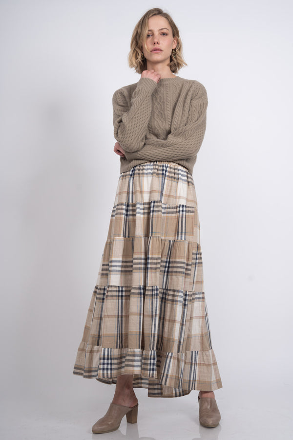 Romantic Adventure Maxi Skirt - Plaid