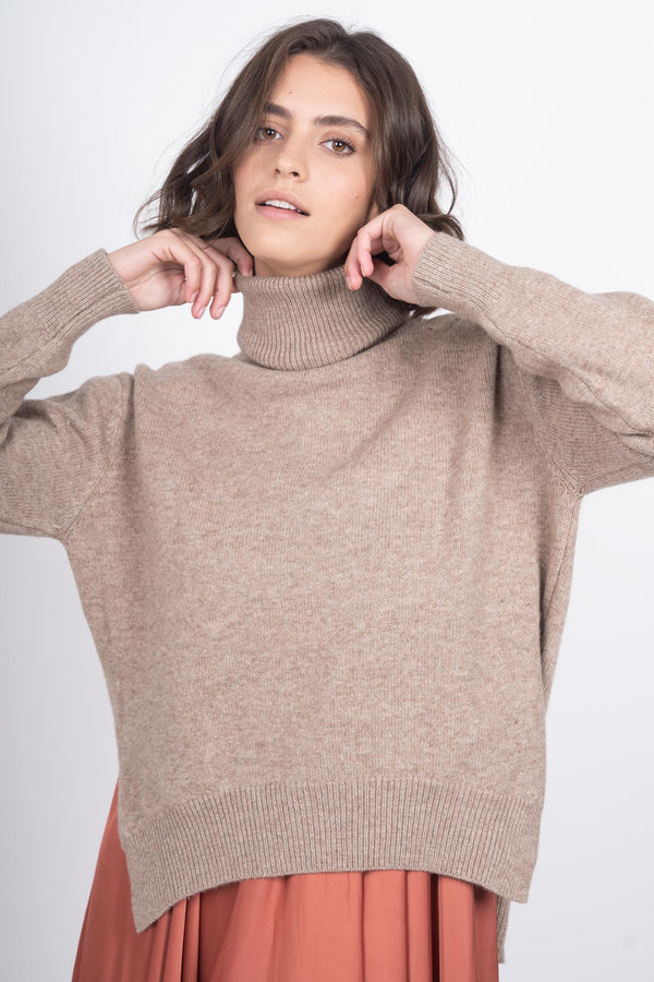 Over & Under Knit Sweater - Camel
