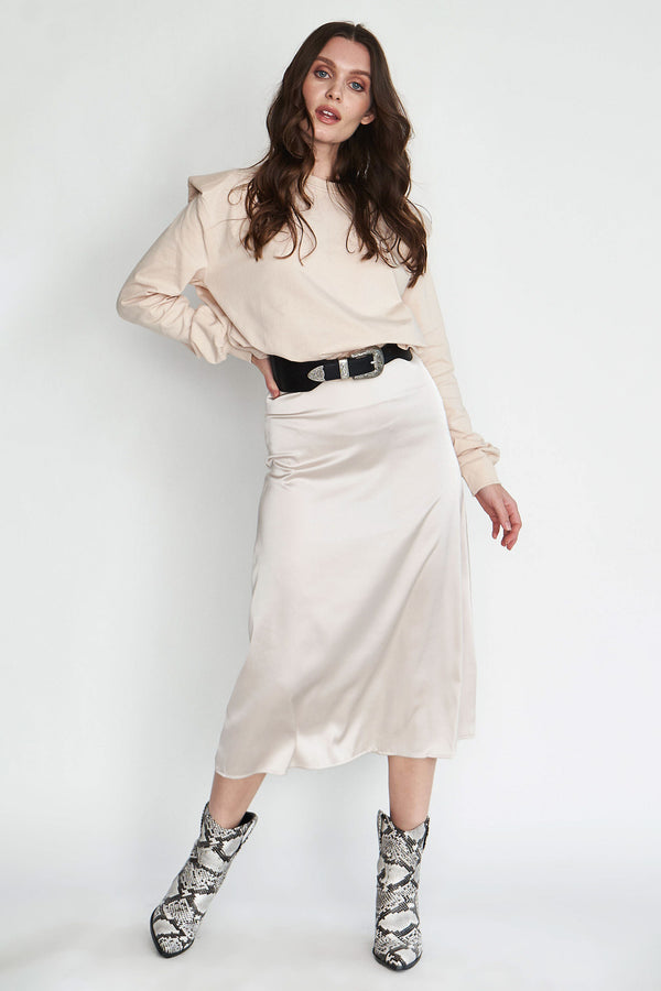 Goddess Satin Midi Skirt  - Cream