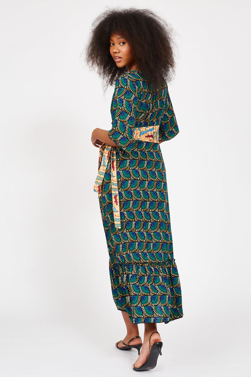 Journey Maxi Wrap Dress African Peacock