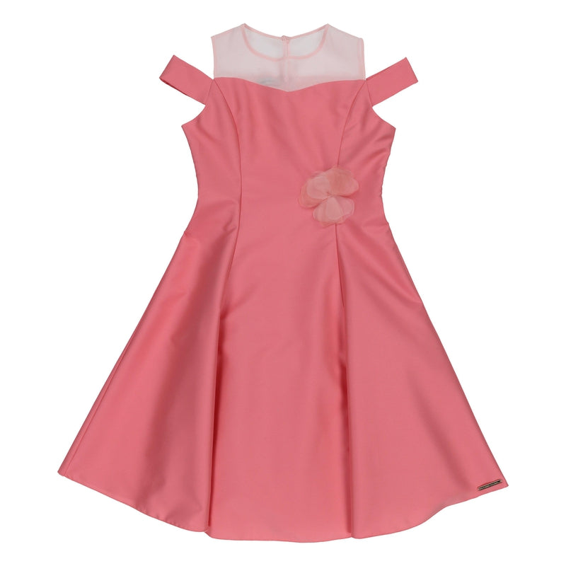 Girls Pink Satin Special Occasion Dress