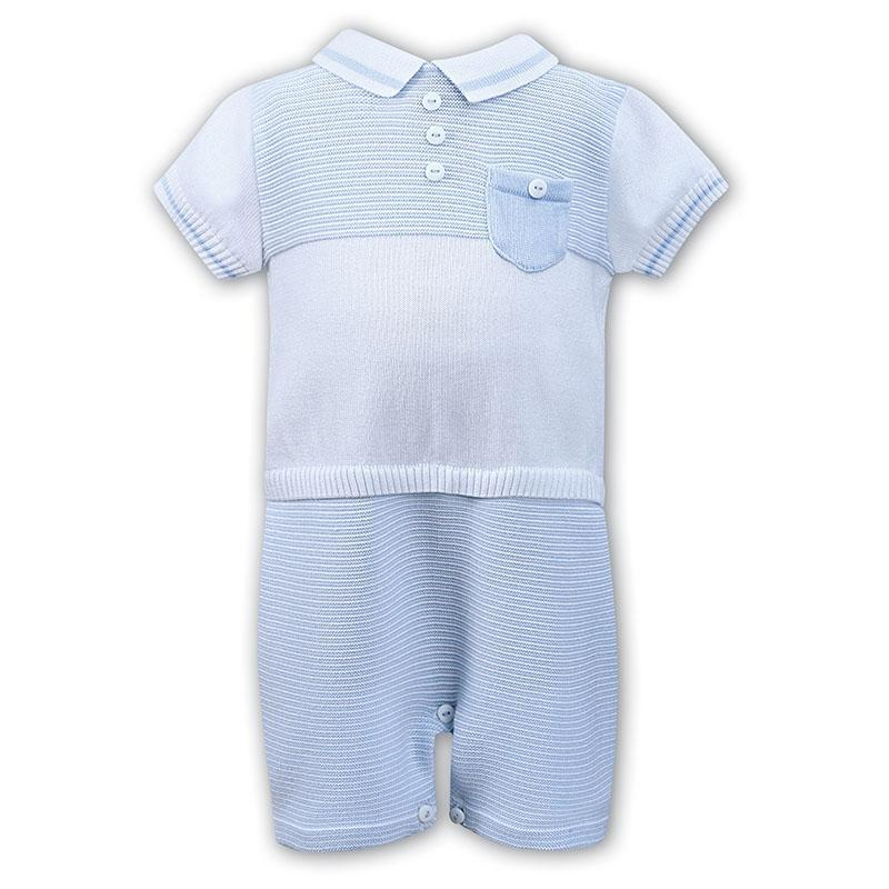 Baby Boys Blue & White Romper