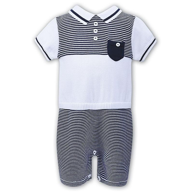 Baby Boys Navy & White Striped Romper