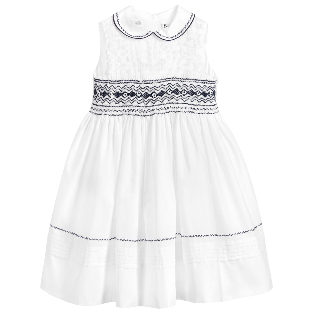 Girls White & Navy Dress