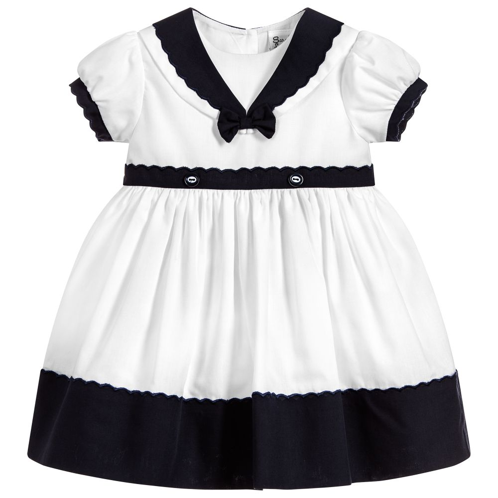 Baby Girls Navy and White Dress