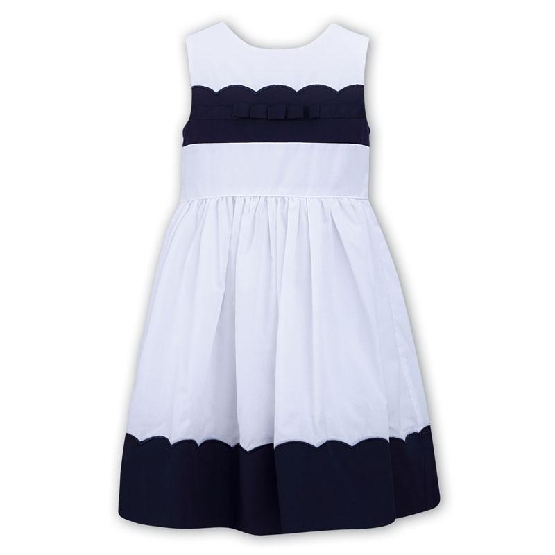 Girls White & Navy Blue Dress