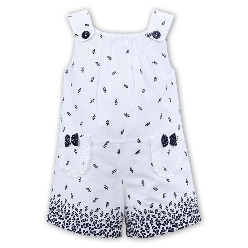 Girls White & Navy Playsuit
