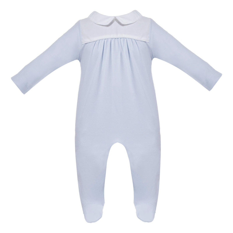 Baby Boys Blue & White Cotton Babygrow - Junior Couture