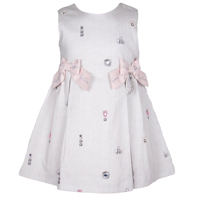 Girls Grey Printed  Dress