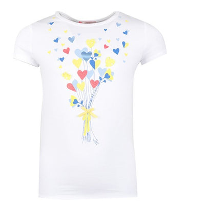 Girls White Hearts Top