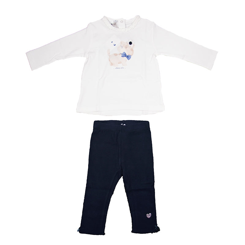 Baby Girls Ivory & Navy Legging Set