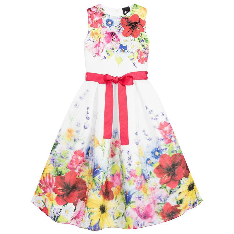 Girls Floral Print Tulle dress