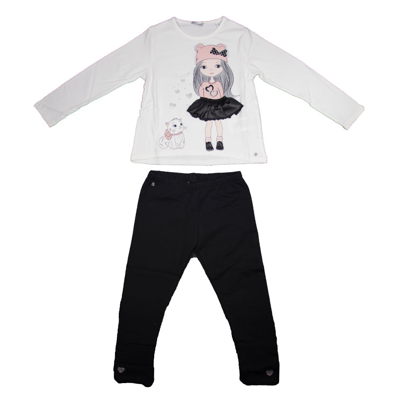 Girls Ivory & Black Legging Set