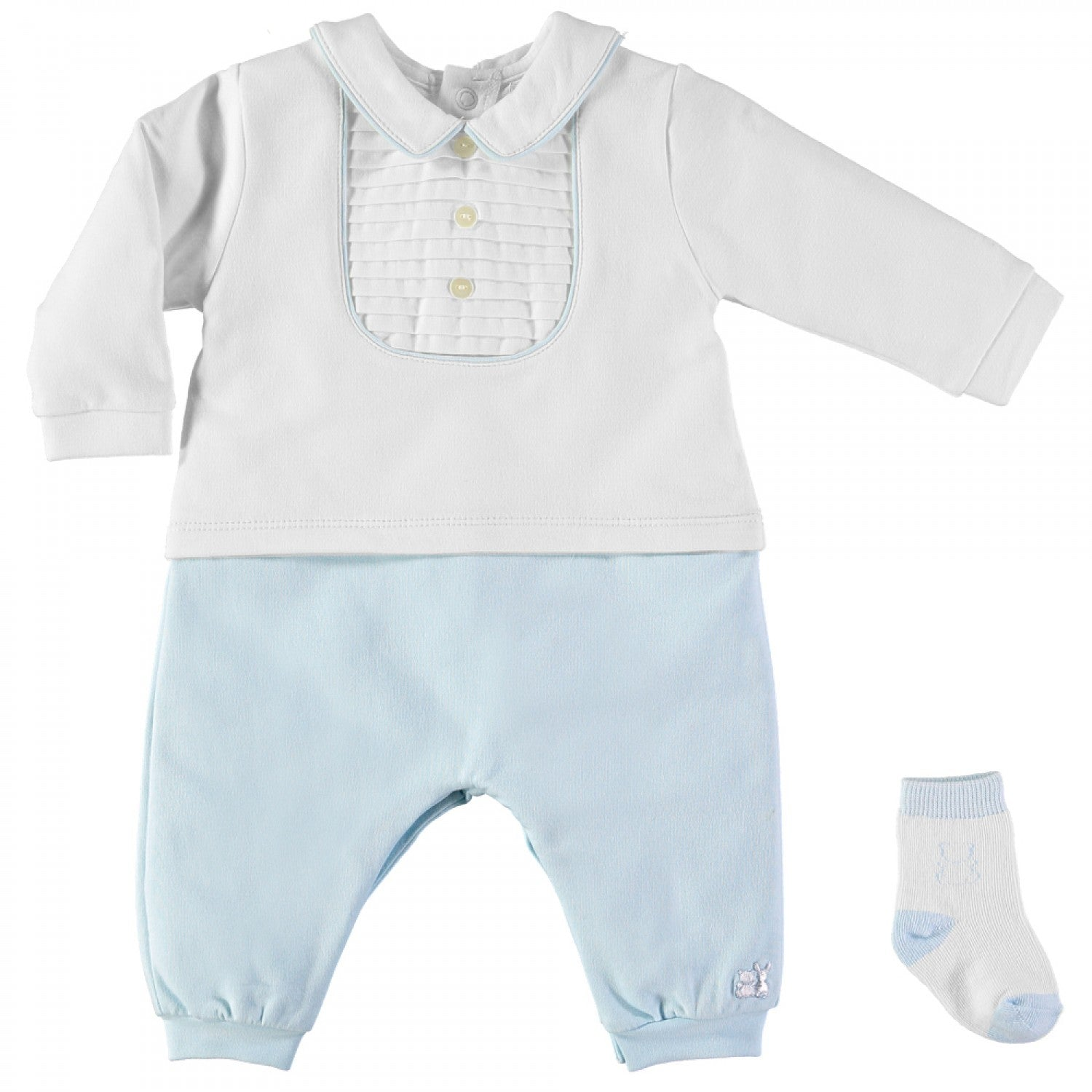 Baby Boys White & Blue Babygrow with Socks