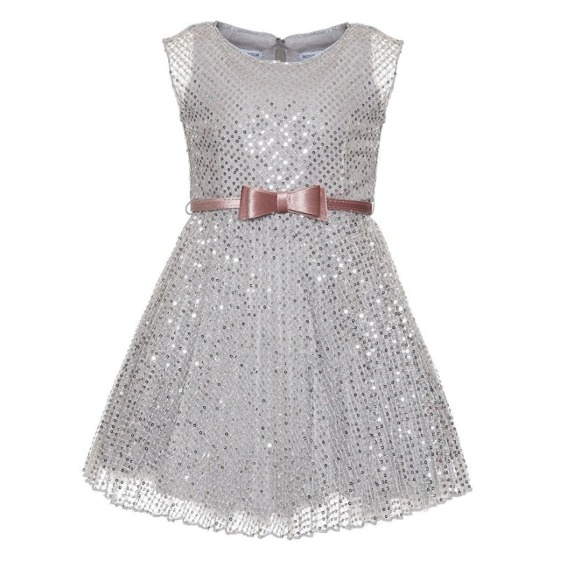 Girls Silver Sequin Dress