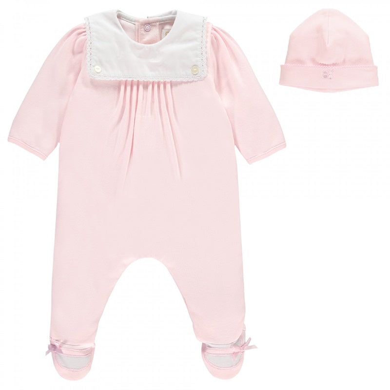 Baby Girls Pink Babygrow & Hat Set