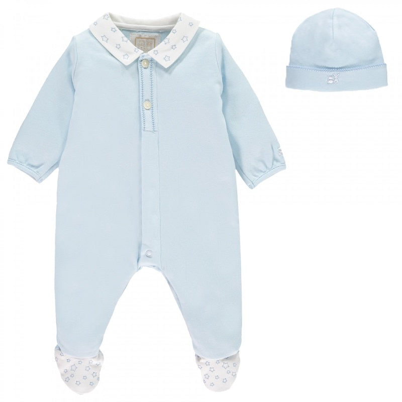 Baby Boys Blue Babygrow & Hat Set