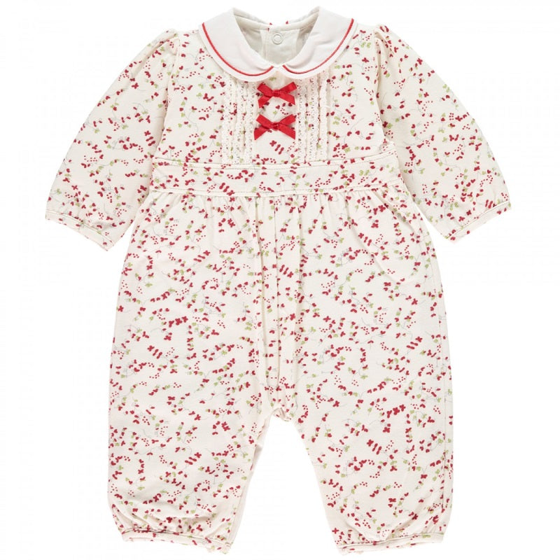 Baby Girls Red Floral Babygrow