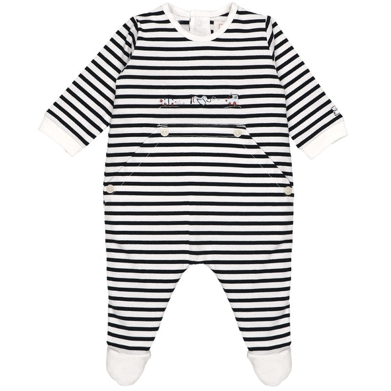 Baby Boys Navy Striped Babygrow