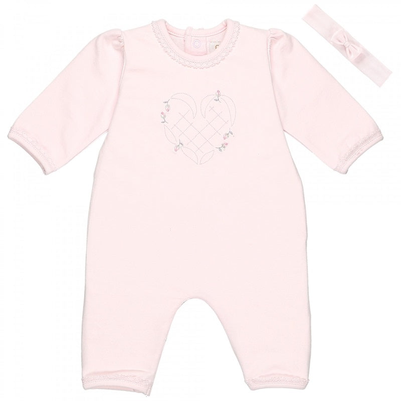 Baby Girls Pink Babygrow & Hairband