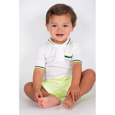 Boys White Pique Polo Shirt