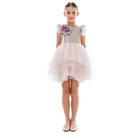 Girls Pink Corsage Special Occasion Dress