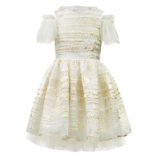 Girls Gold Organza Occasion Dress
