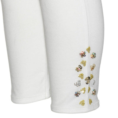 Girls White Embellished Leggings - Junior Couture