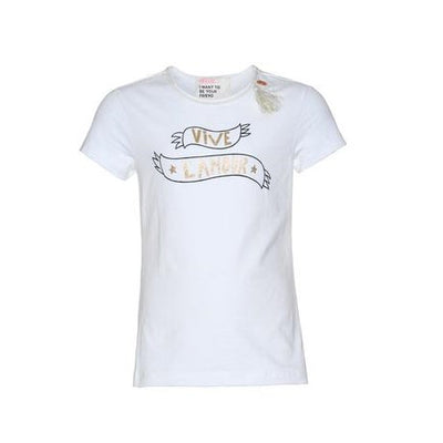 Girls White Slogan T-shirt - Junior Couture