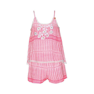 Girls White & Pink Playsuit - Junior Couture