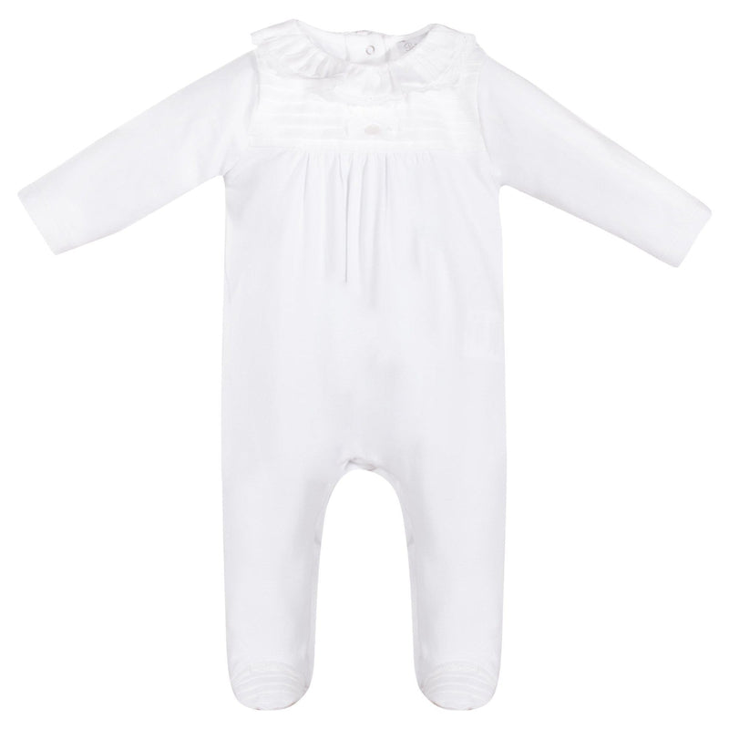 Baby White Cotton Babygrow - Junior Couture