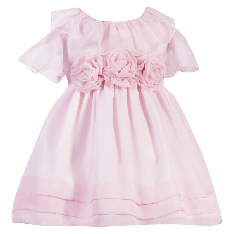 Baby Girls Pink Chiffon Flower Dress - Junior Couture