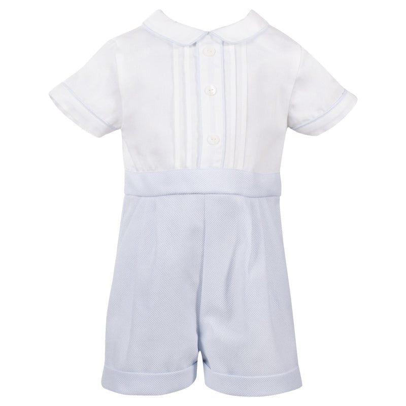 Baby Boys Blue & White Romper - Junior Couture