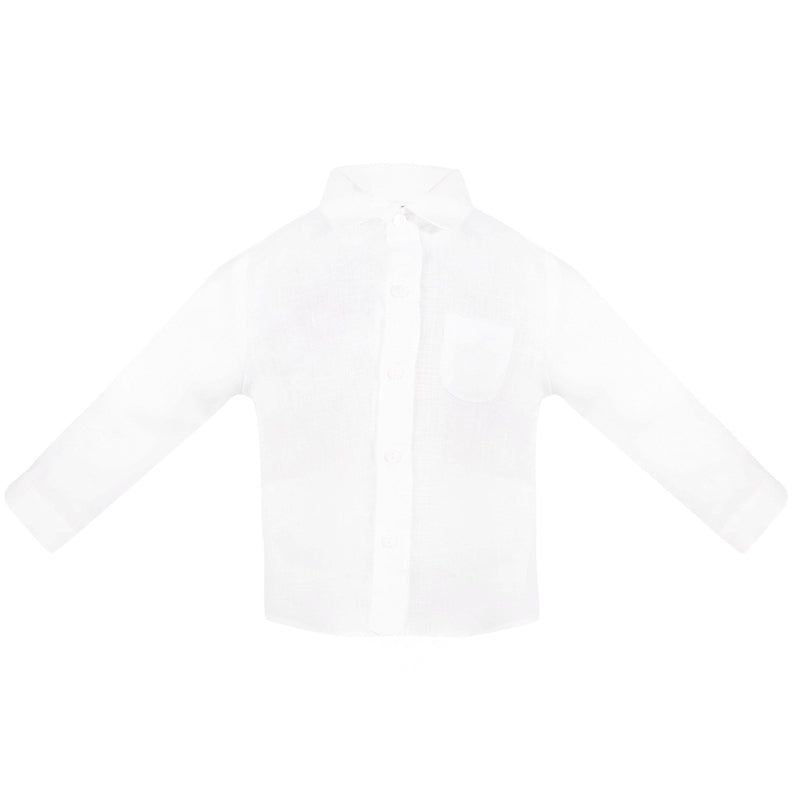 Boys White Linen Shirt - Junior Couture