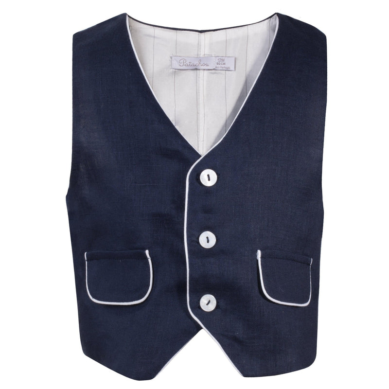 Boys Navy Blue Waistcoat - Junior Couture
