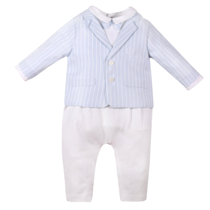 Baby Boys Blue & White Cotton Special Occasion Suit - Junior Couture
